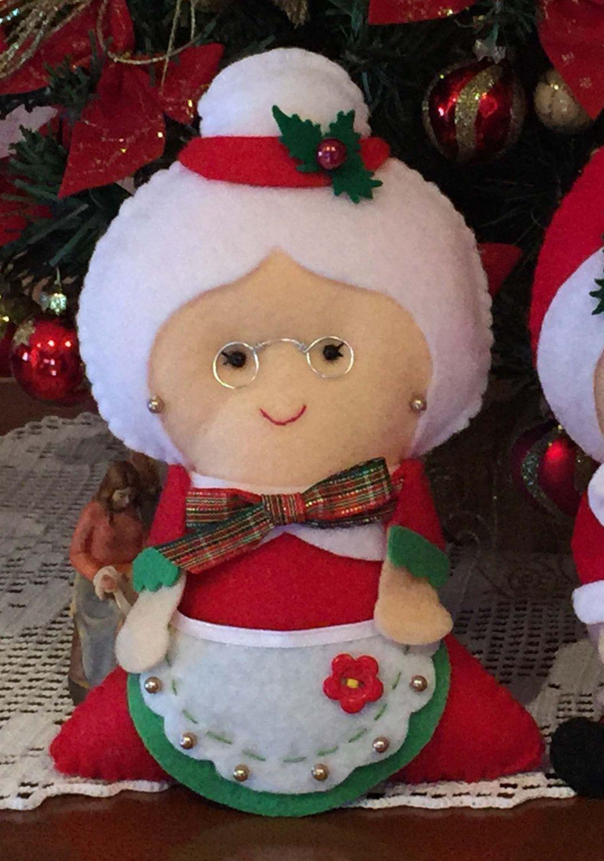Regali Di Natale Per Moglie.Moglie Di Babbo Natale In Feltro Cucita A Mano Di Lastanzadielena Su