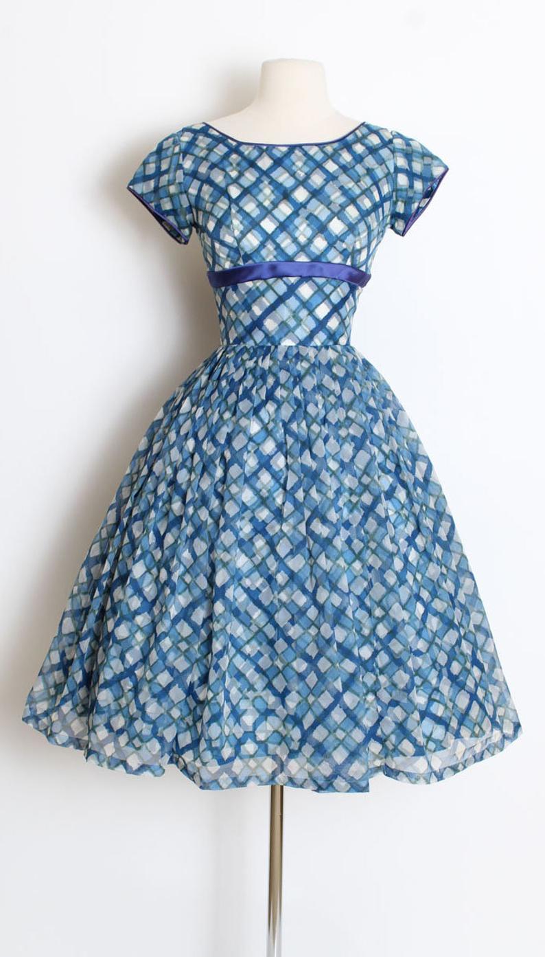 Vintage 1950s 50s Dress Blue Chiffon Squares Basketweave Etsy Vintage Dresses Online 50s Dresses Vintage Dresses 50s [ 1393 x 794 Pixel ]