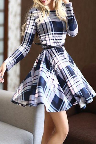 Long Sleeve Belted Navy Plaid Casual Summer Dresses