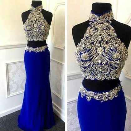 High Neck Sheath/Column Silk-like Satin Floor-length Beading Two Piece  Sparkly