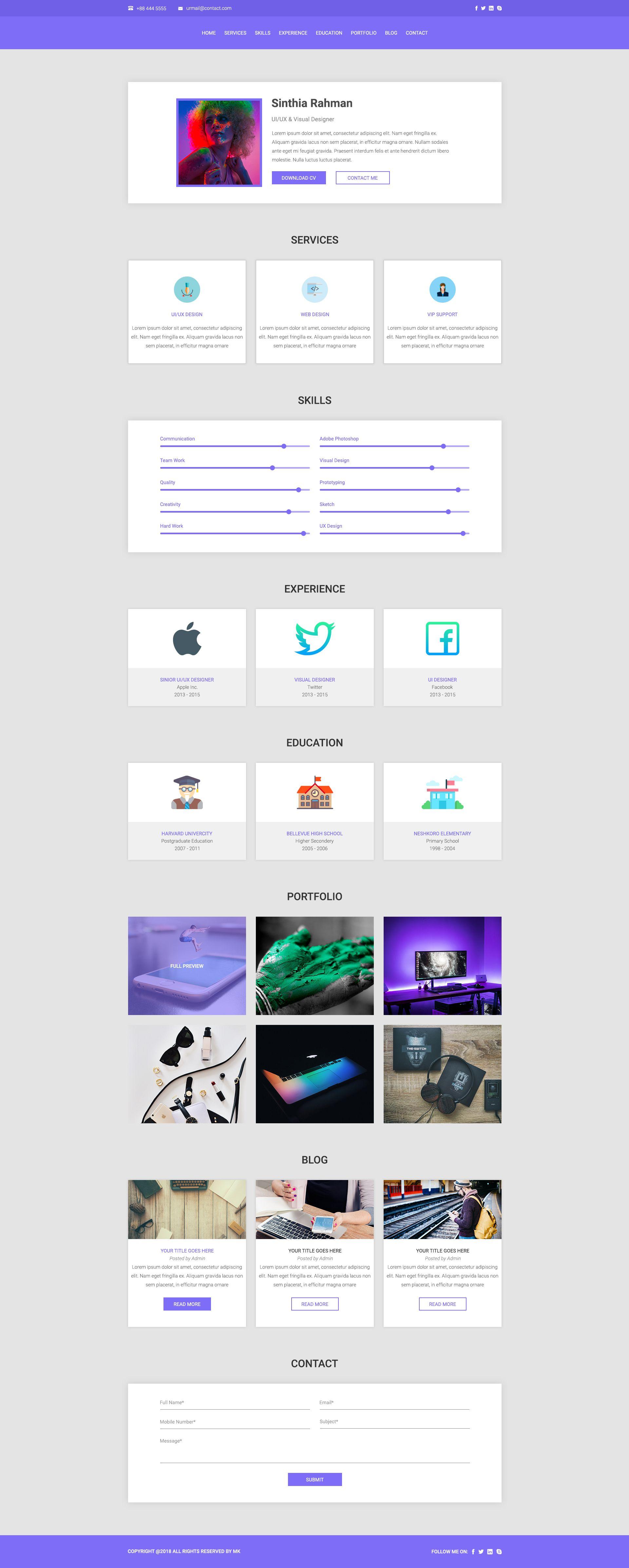 CV /RESUME / Portfolio PSD Template by MK360_Themes