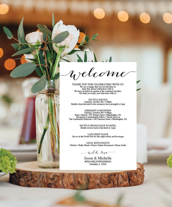 Wedding Itinerary Template - Wedding Welcome Bag Printable - wedding agenda