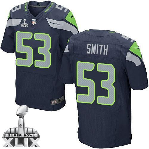 Nike Seahawks  53 Malcolm Smith Steel Blue Team Color Super Bowl XLIX Men s  Stitched NFL 7b5f06433
