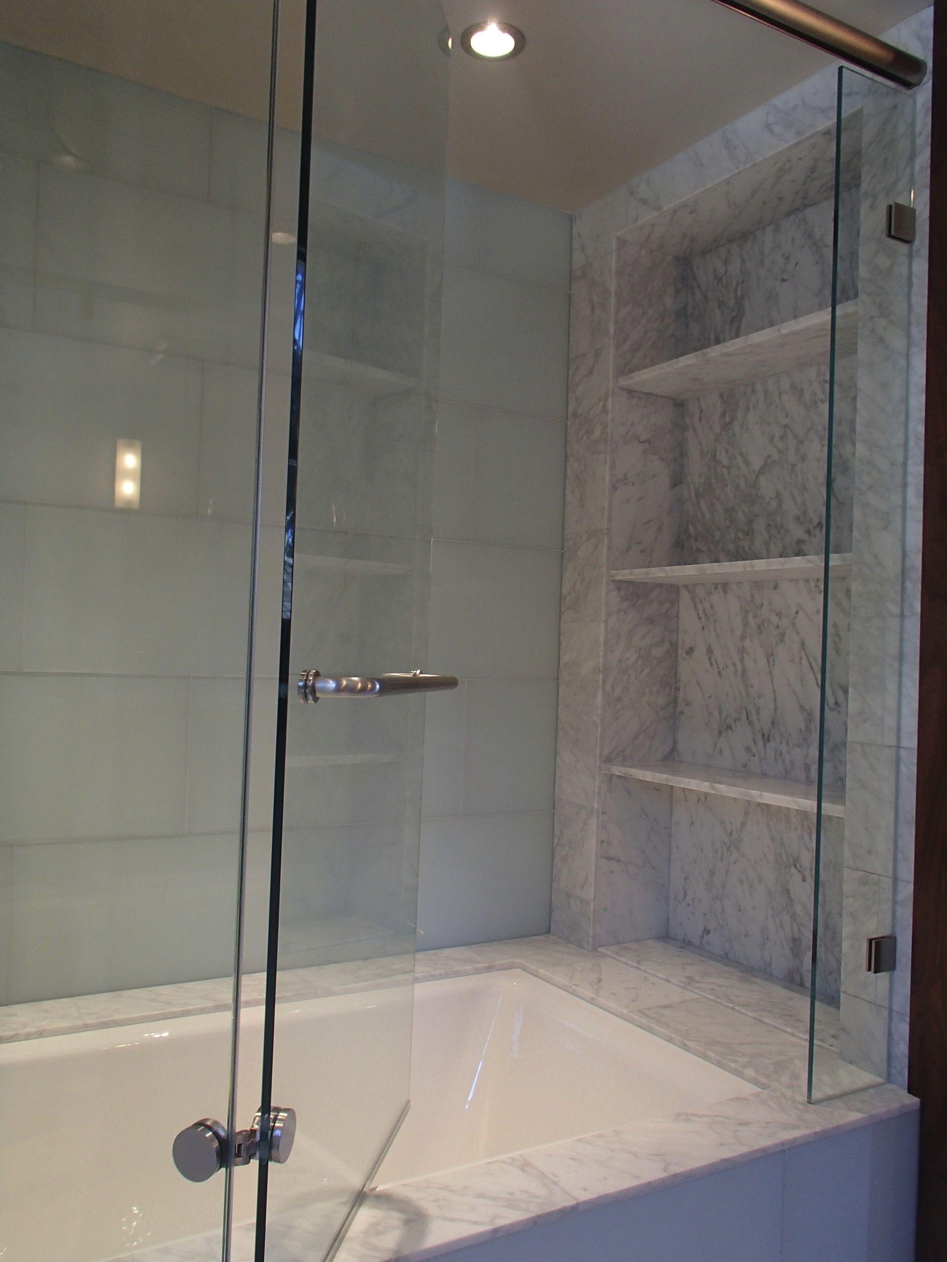 Carrara Marble Slab Tub Deck, Carrara Marble Tile By Ann Sacks. Kohler Tub.  Polished Nickel Faucet And Fixtures By Restoration Hardware.