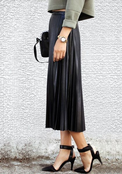 735c81861a PU Midi Pleated Skirt- With Side Zip Closure | Little black dress ...