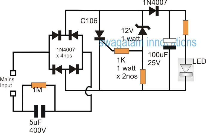 Scr Shunt Circuit For Protecting Capacitive Led Driver Circuit Projects Led Led Drivers