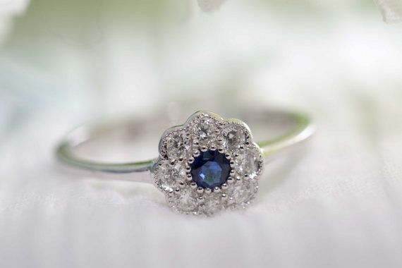760ac9b3515fc Victorian style daisy cluster Sapphire and diamond ring/ Daisy Ring ...