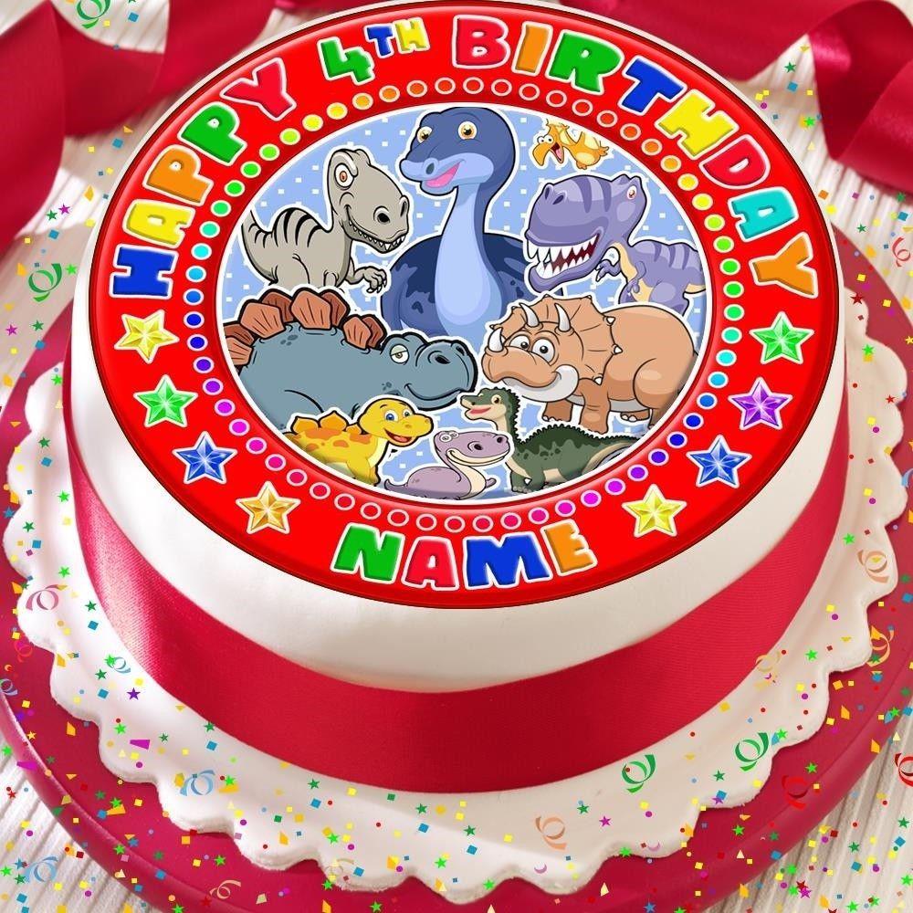 Dinosaur personalised red precut edible happy birthday