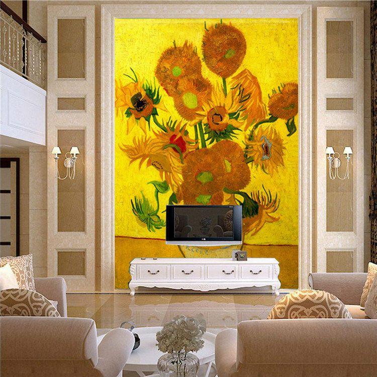 Vintage Van Gogh Sunflower Art Wall Mural photo Wallpaper Large Size ...