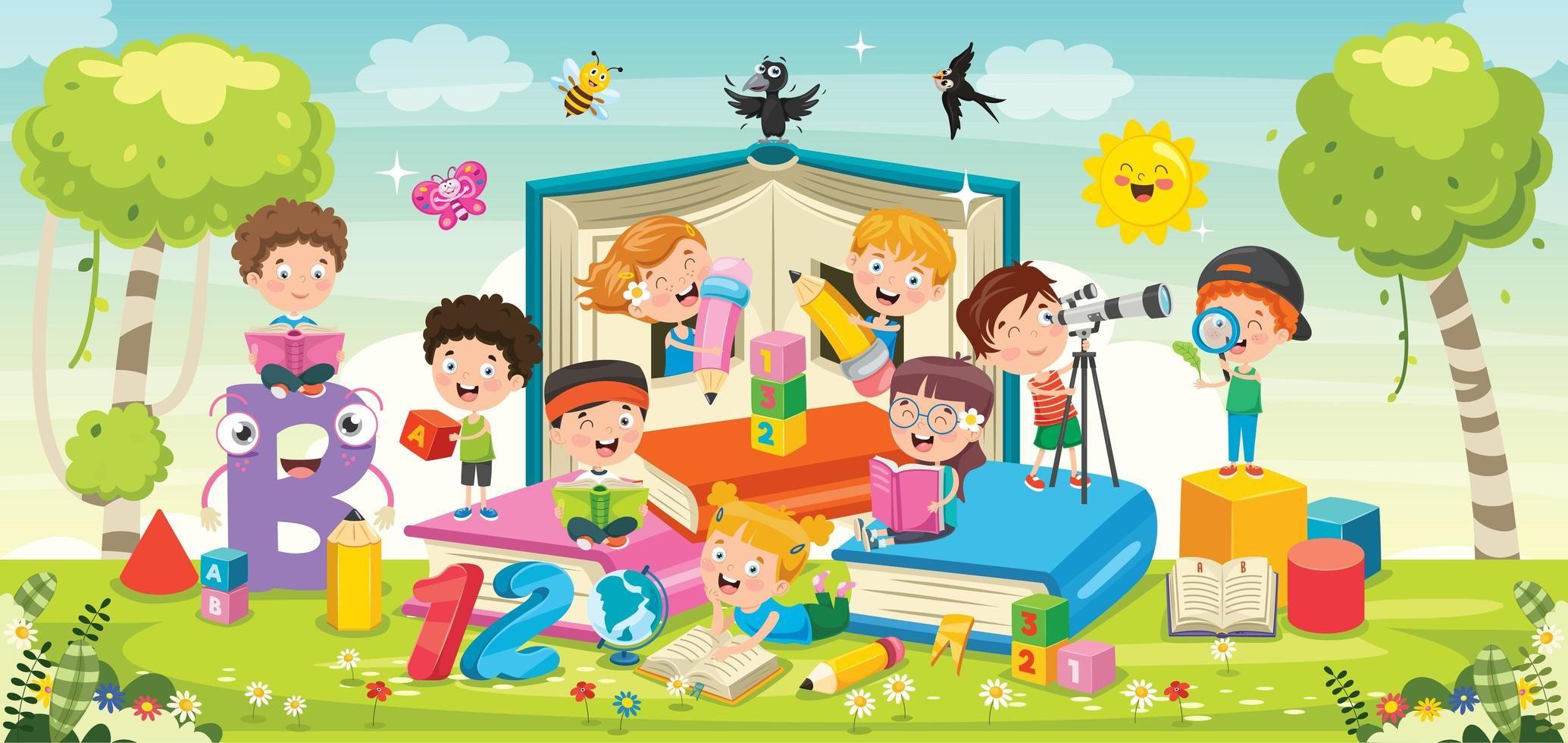 Ninos De Dibujos Animados Jugando Con Libros Ninos Dibujos Animados Dibujos Animados Juegos Para Ninos