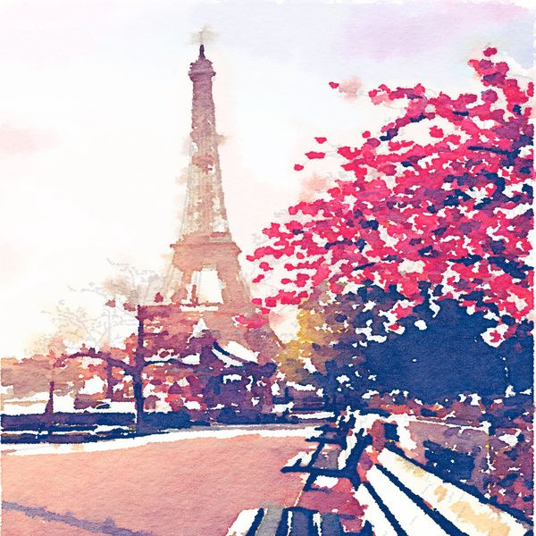 Eiffel Tower Original Watercolor Paris France Sunset Orange Blue