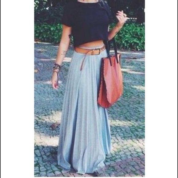 Nwt High Waisted Pleated Maxi Skirt Polyester