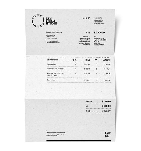 Invoice Design as part of Lukas Strociak Retouching by Michal - invoice designs