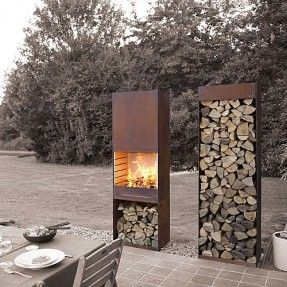 Steel Outdoor Fireplace Foter In 2020 Outdoor Fireplace Patio Outdoor Fireplace Designs Outdoor Fireplace