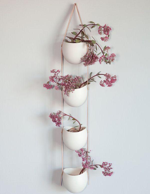 blumenampel weiß keramik-leder Design-Vorteile spürbare - blumenampel selber machen hangekorb