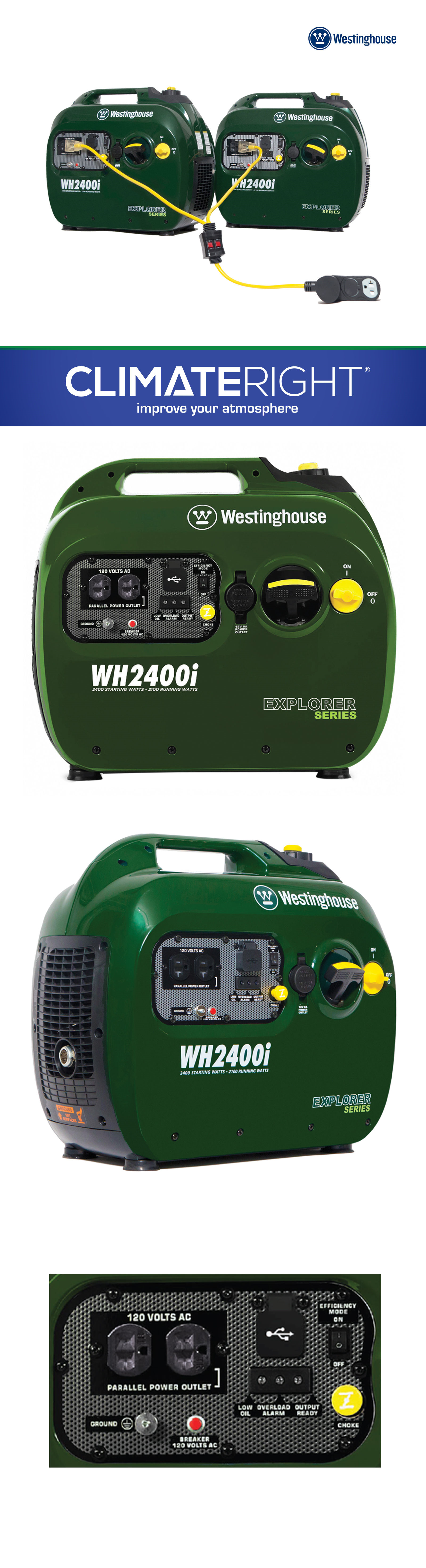 Generators and Heaters 2 Westinghouse Wh2400i Portable Gas