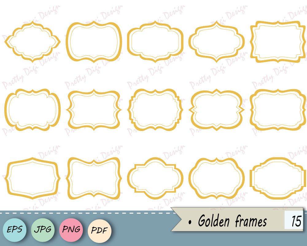 Instant Download Clipart Golden Frames Png Jpg Vector Eps Etsy Clip Art Digital Frame Frame Clipart