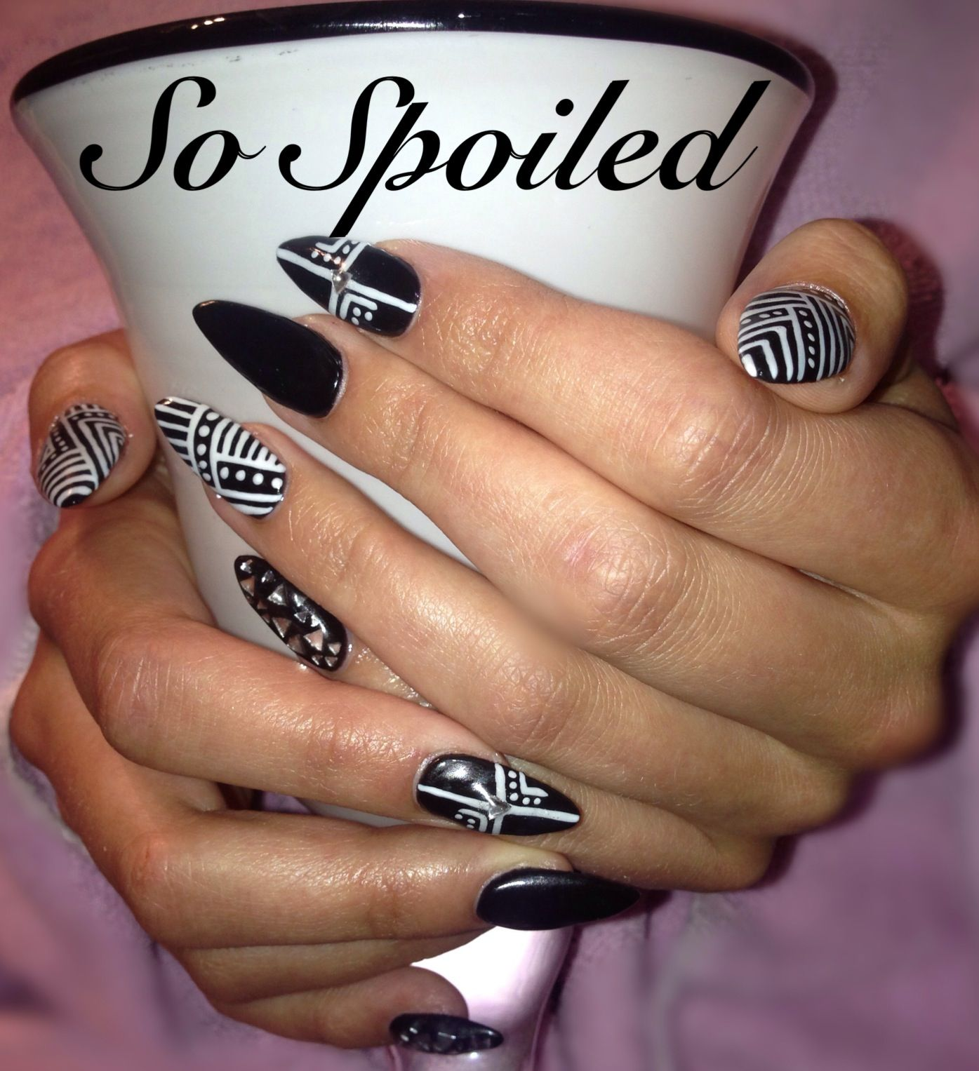 Nail art and design trendy black stilettos with white free hand nail art and design trendy black stilettos with white free hand design and rhinestones prinsesfo Image collections