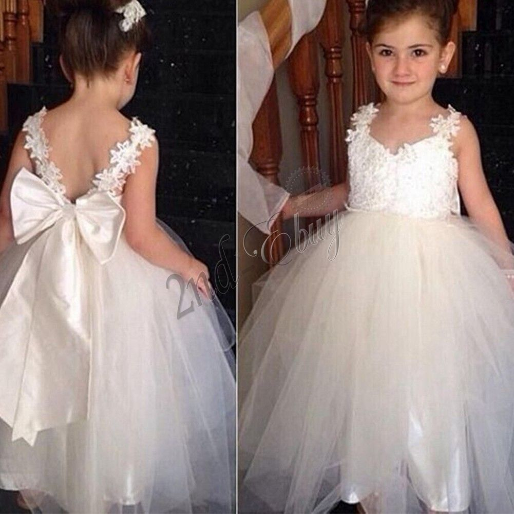 Strap Backless Party Princess Pageant Bridesmaid Wedding Flower Girl Baby  Dress 175db5a556a4