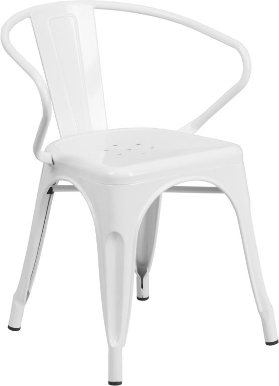 White Metal Indoor-Outdoor Chair with Arms, CH-31270-WH-GG | RestaurantFurniture4Less.com