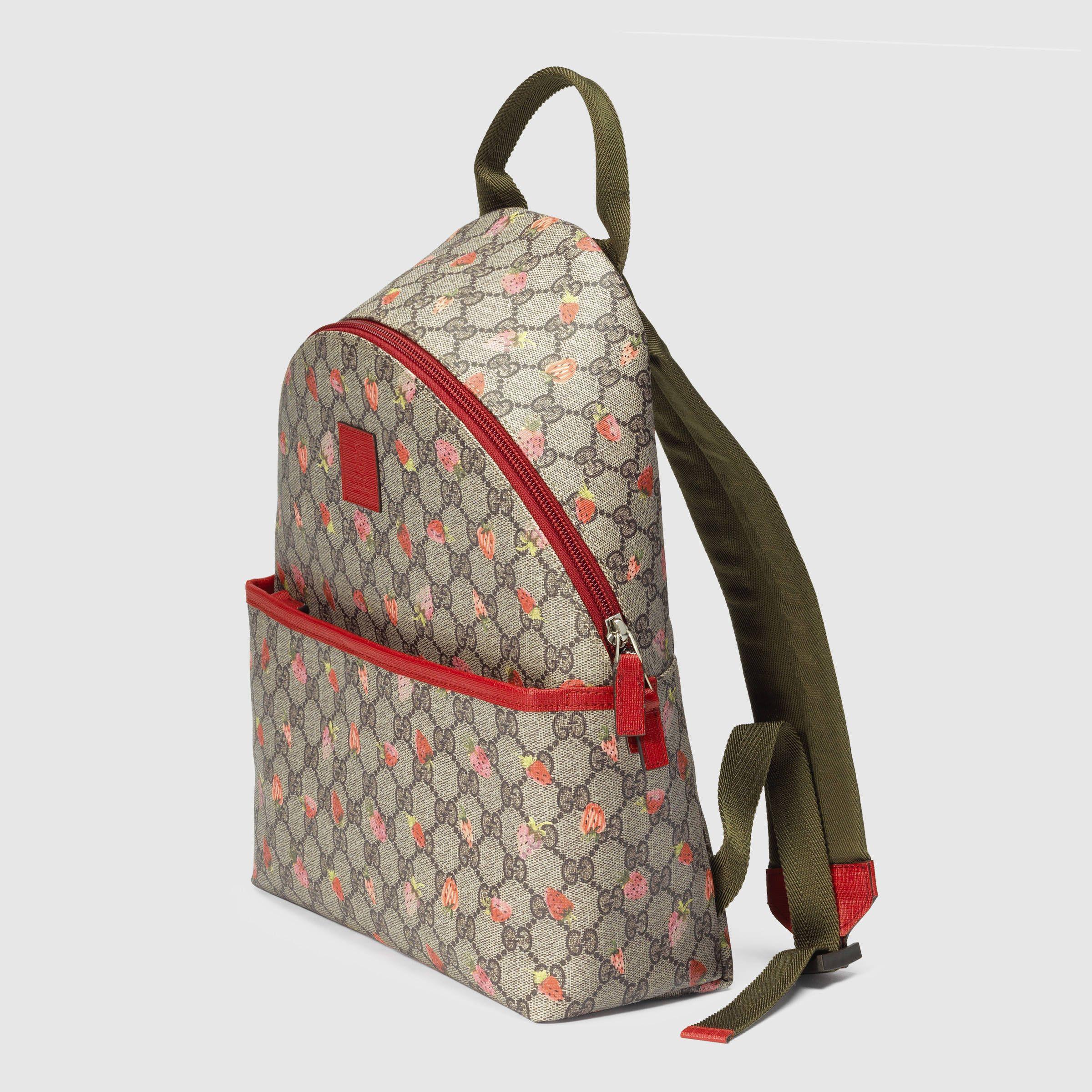 b6232acdb814 Gucci Children - Children s GG strawberry backpack - 271327KXG1N8897 ...