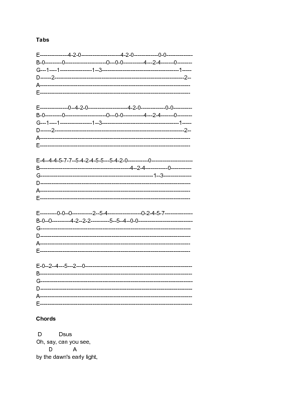 Sample Star Spangled Banner Tabs And Chords Wikihow Guitar Love