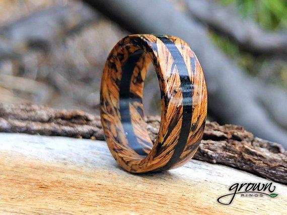 Photo of Jack Daniels Whiskey Barrel & Ebony Center Wood Rings | Custom Handmade Unique Men's Ring | Wedding ring | Bartender gift | anniversary