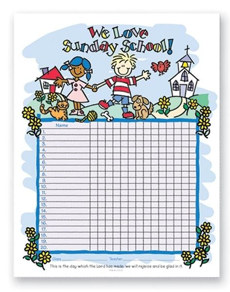 It's just a graphic of Adaptable Sunday School Attendance Chart Free Printable