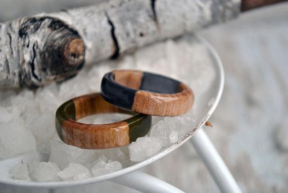 Black Resin Ring Man Wood Ring 5 Year Anniversary Gifts For Men