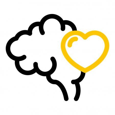 Human brain with a heart icon outline style  Stock Vector