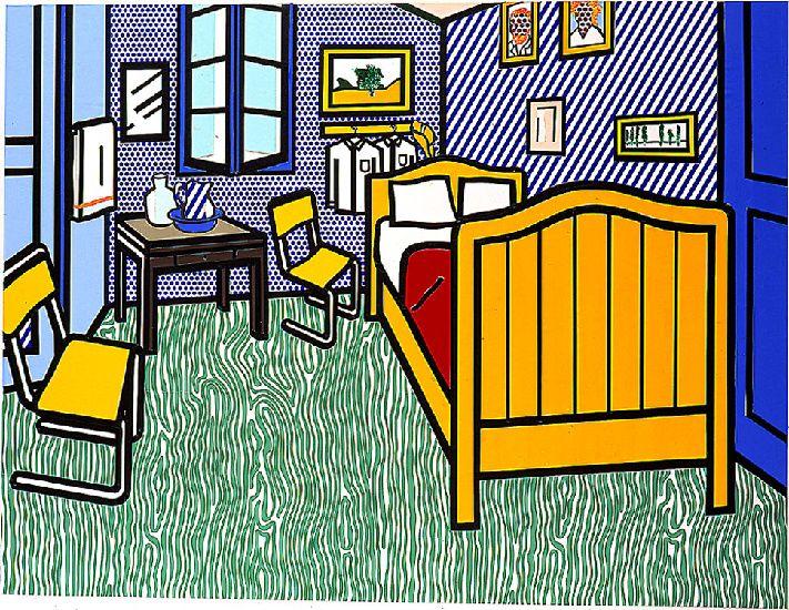 """roy lichtenstein's """"bedroom"""" is a take on van gogh's bedroom in"""