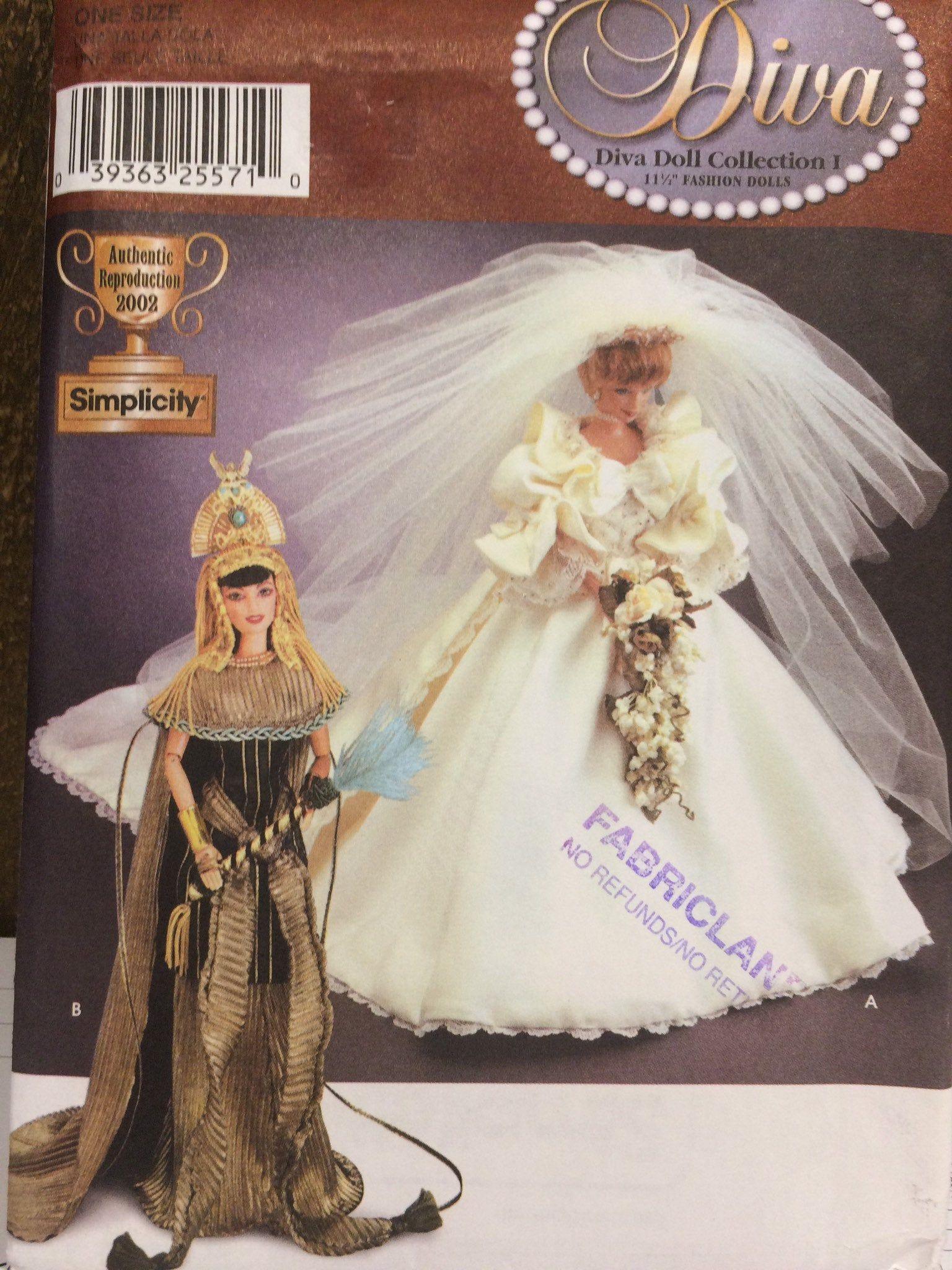 Oop Simplicity 7077 11 1 2 Fashion Doll Barbie Diva Etsy Modest Wedding Dresses Wedding Dresses With Straps Diana Wedding Dress [ jpg ]
