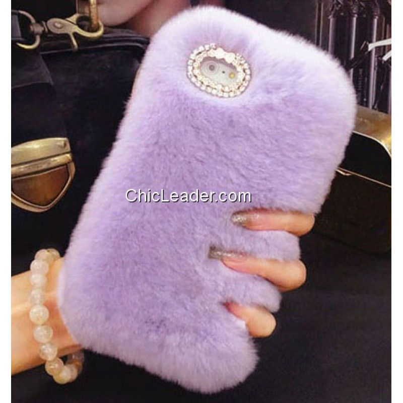 Bling Rhinestone Soft Faux Rex Rabbit Fur Case for iPhone 6 Plus / 6S Plus 5.5inch