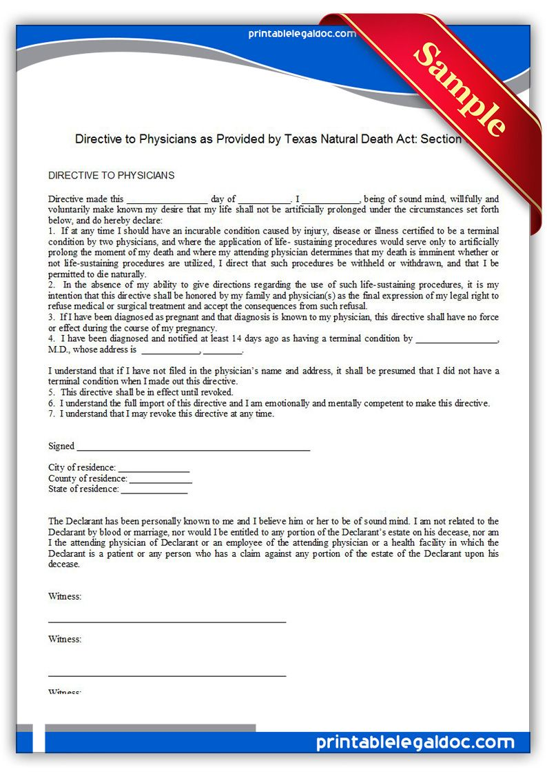 Free Printable Life Sustaining Statute, Texas Legal Forms