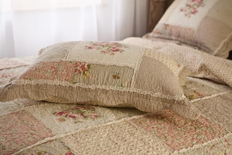 Delightful Queen Country Floral Patchwork Quilted Cotton Coverlet Bedspread Quilt Set  K002