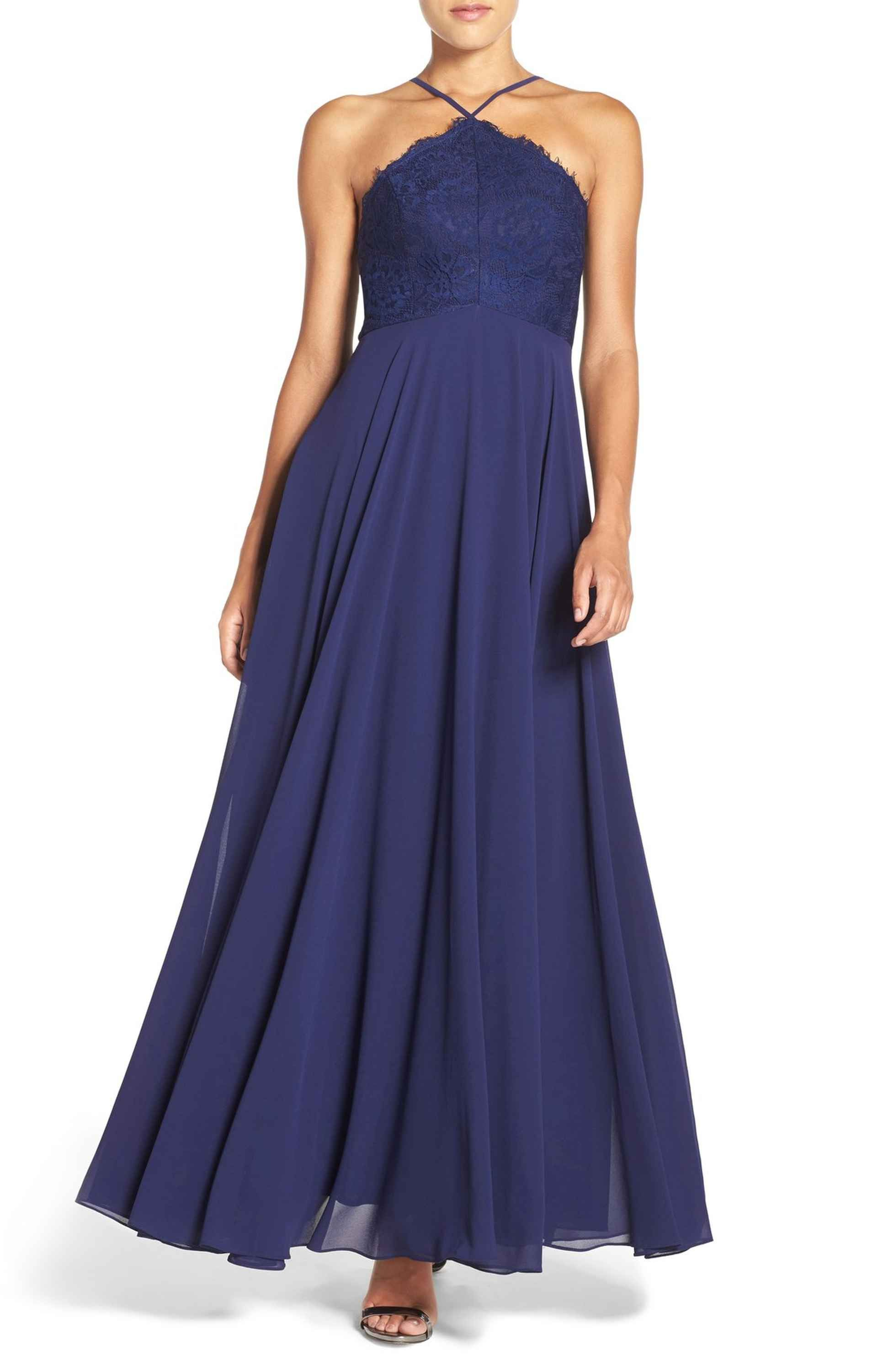 Main image lulus high neck lace u chiffon gown navy small