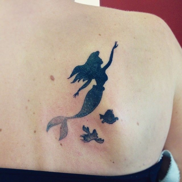 Silhouette Mermaid Tattoo On Right Back Shoulder