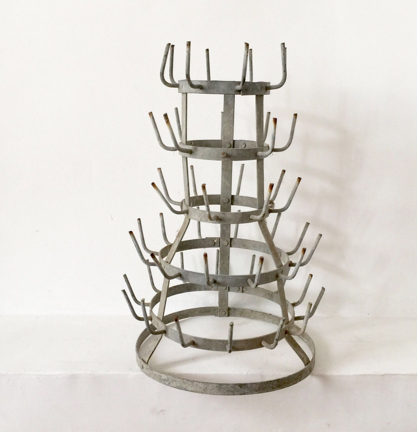 French Antique Zinc Bottle Drying Rack Herrison Cup or