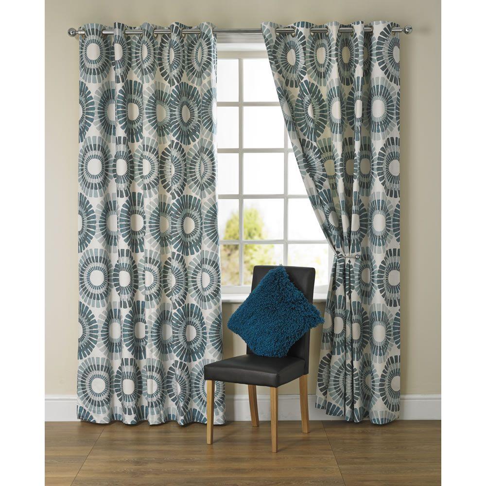 Wilko Fossil Print Curtain Teal 167x228cm Printed