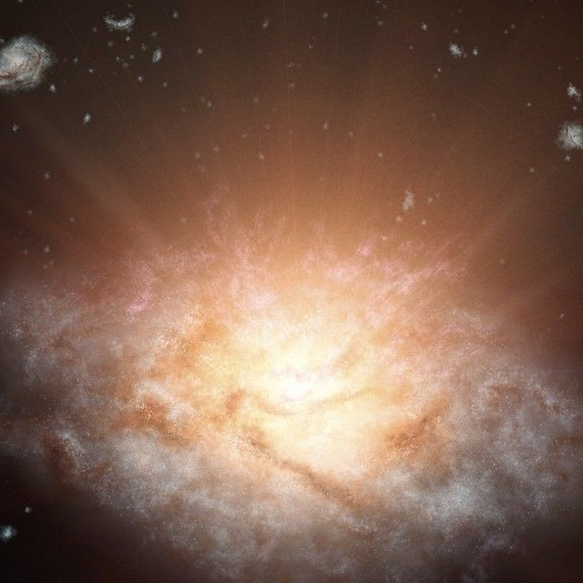 New record broken! A remote galaxy shining with the light of more than 300 trillion suns has been discovered using data from NASA's Wide-field Infrared Survey Explorer (WISE). The galaxy is the most luminous galaxy found to date and belongs to a new class of objects recently discovered by WISE -- extremely luminous infrared galaxies, or ELIRGs.  Image Credit: NASA (artist concept)  #nasa #wise #space #astronomy #galaxy #record #nasabeyond #science