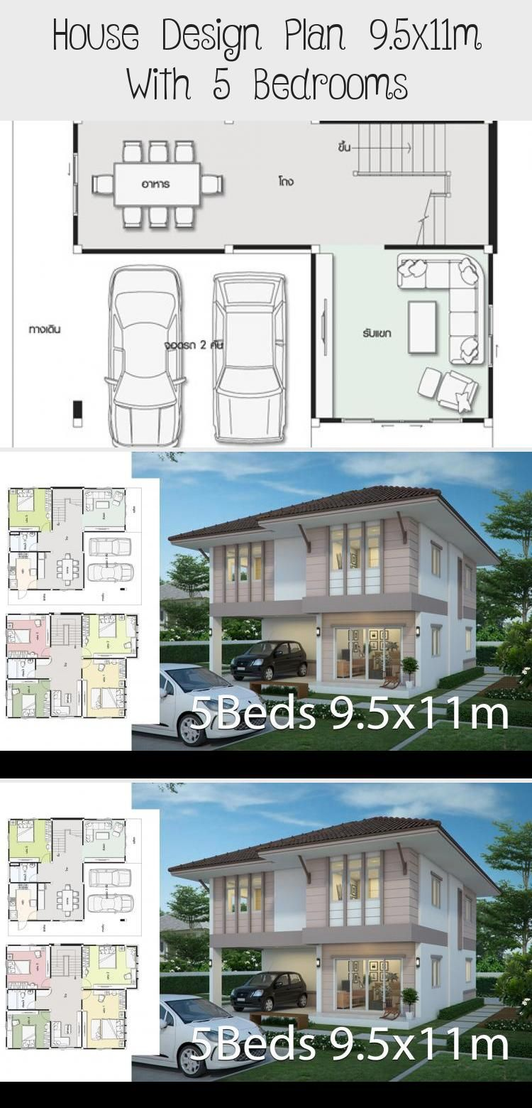 House Design Plan 9 5x11m With 5 Bedrooms Home Design With Plan Modernhouseplanscanada Modernhouseplanssi In 2020 Home Design Plans House Design Square House Plans