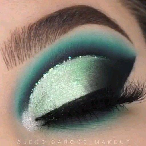 Tutorial verde azulado, menta y negro 💙💚 |  @LoveliexK 💎  – Maquillaje
