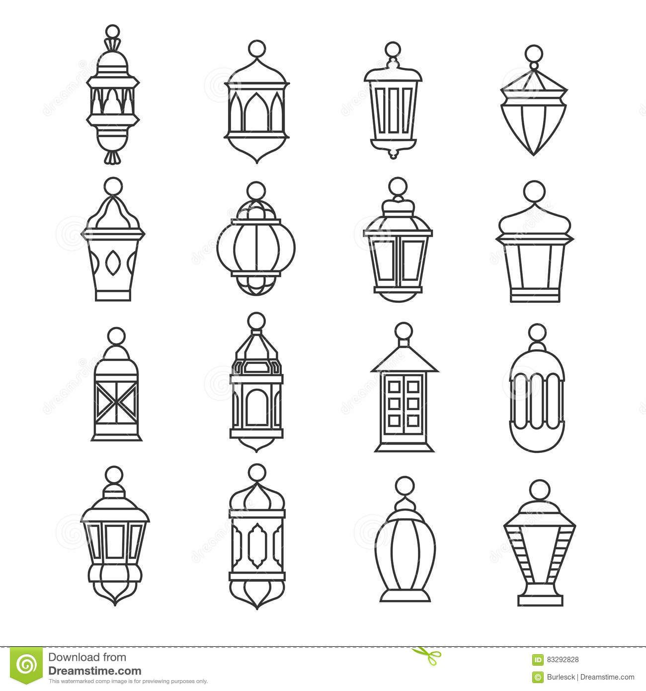 Illustration About Ramadan Vintage Lantern Linear Icons Vector Muslim Antique Lamp Symbols Old Oil Lantern Classic Ill Antique Lamps Ramadan Lantern Lanterns