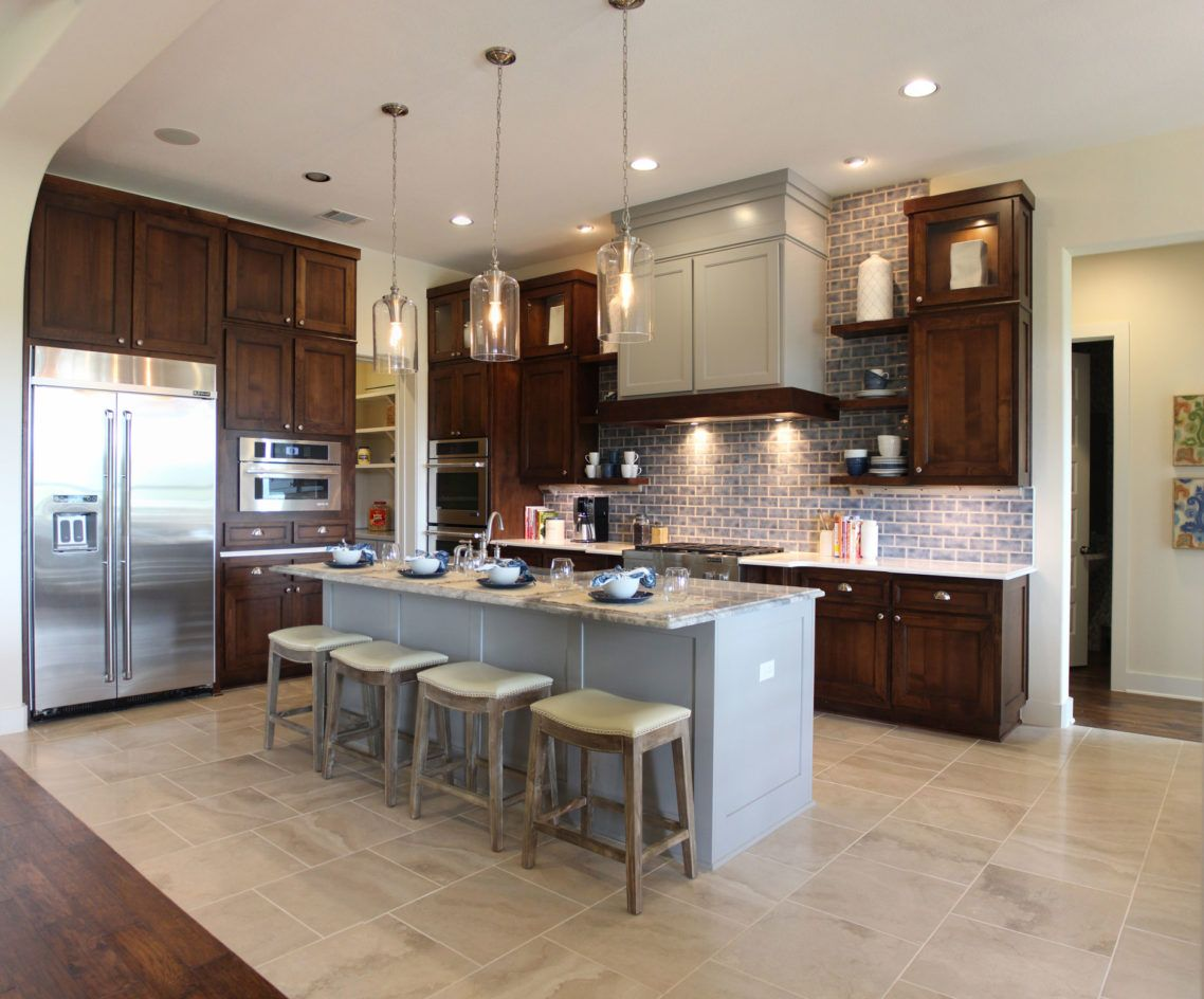 Awesome white dark brown wood stainless vintage design for Grey floor black cabinets
