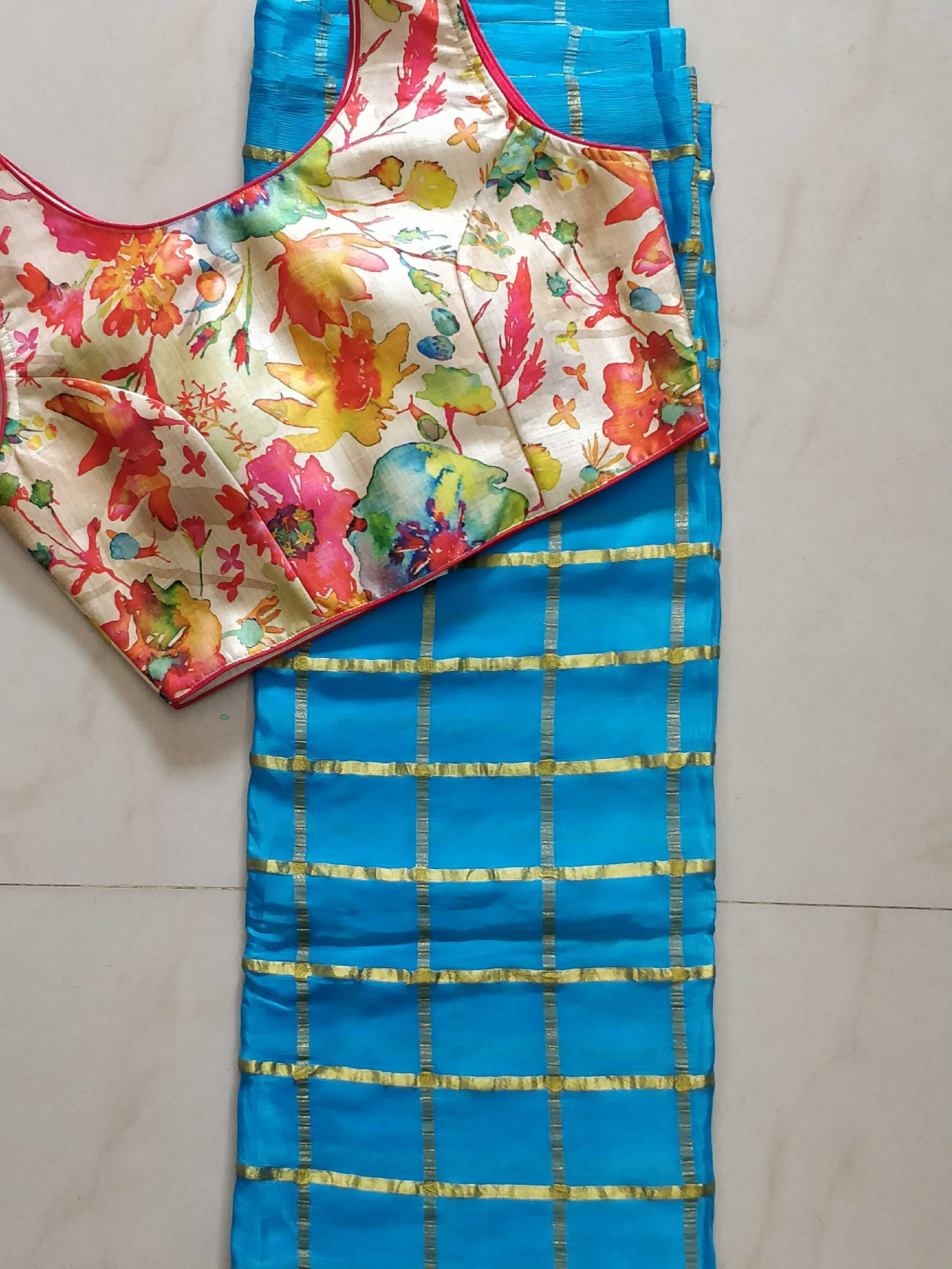 73886bc1d5177 Jute georget saree with designer readymade blouse size 36 to 38 ...