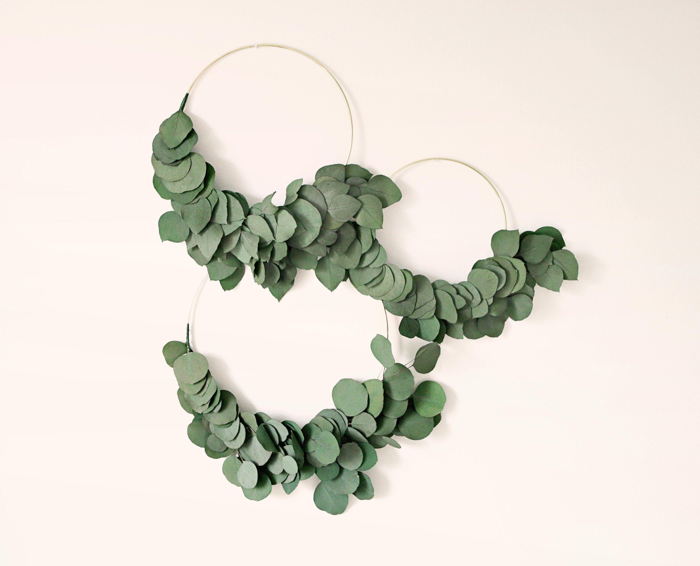 Photo of Dried eucalyptus wreath, Gold metal hoop, Minimalistic wreath, Preserved eucalyptus hoop, Wedding hoops, Nursery decor, Home decor wreath