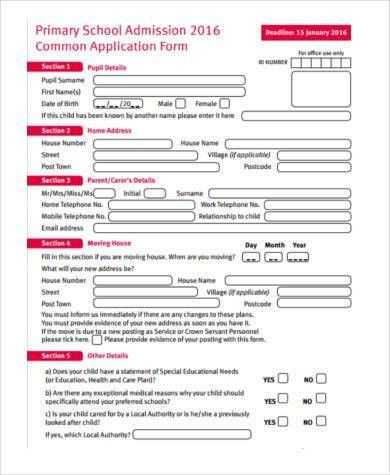 Sample Of Admission Form  Sample School Application Form  Example