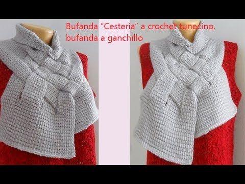 """Bufanda """"Cestería"""" a crochet tunecino, bufanda a ganchillo Chal №63 ..."""