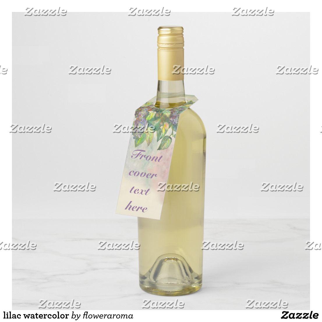 Lilac Watercolor Bottle Hanger Tag Zazzle Com Wine Bottle Tags Custom Wine Tags Bottle