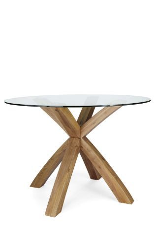 Oak And Glass Round Dining Table, Round Glass And Oak Dining Table